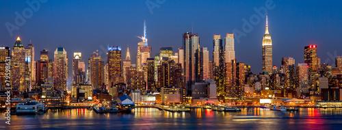 Miasto Nowy Jork Manhattan śródmieścia budynków linii horyzontu noc