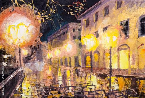 night in paris, street lamp, colorful oil painting