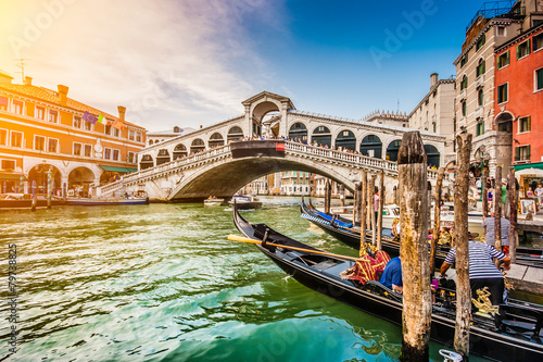 Canal Grande with Rialto Bridge at sunset, Venice, Italy