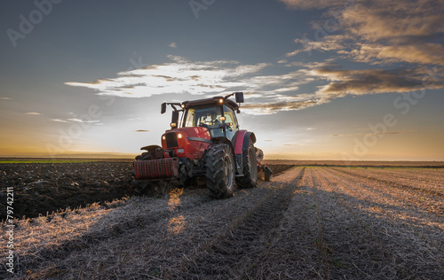 Canvas Print Tractor plowing