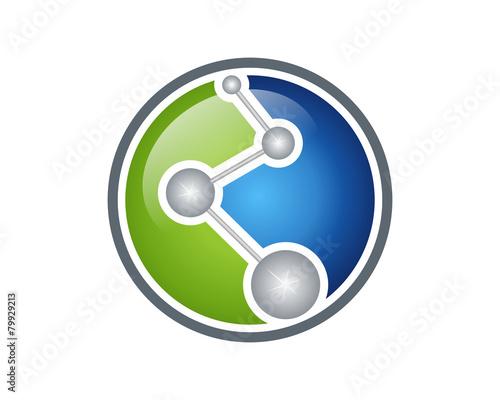 Leinwand Poster Molecule, atom, microbial, etc