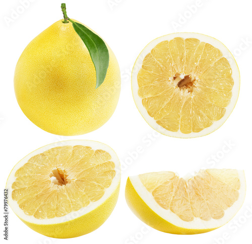set of Pomelo or Chinese grapefruits isolated on the white backg