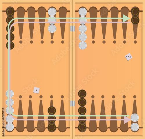 Fotografija Direction of movement of chips backgammon