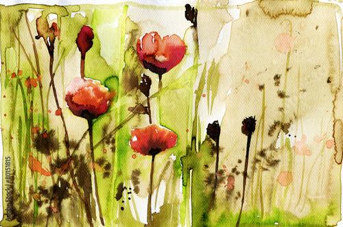 Obraz na płótnie ilustracja przedstawiająca wiosenne kwiaty na łące w akwareli