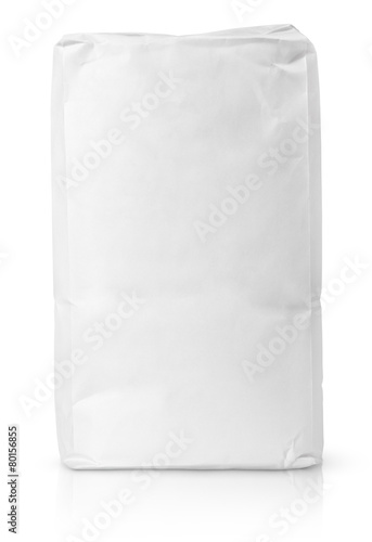 Blank paper bag package of flour on white with clipping path