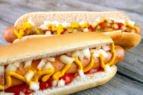 Tablou Canvas Two hot dogs closeup