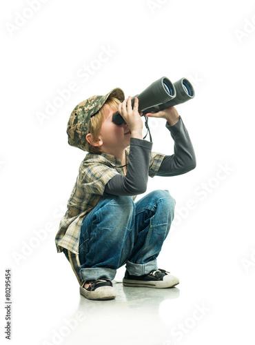 Boy with a binoculars Fototapeta