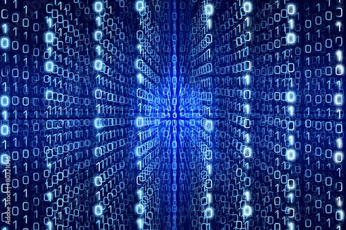 Photo Blue Matrix Abstract  Digital background