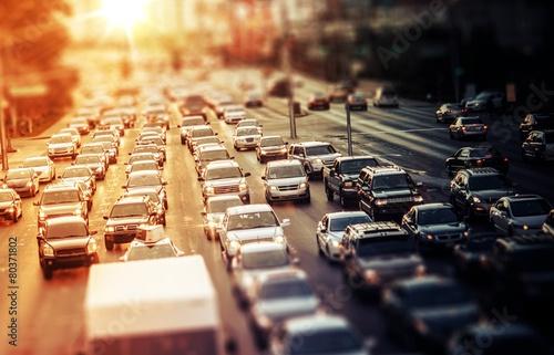 Fototapeta Highway Traffic při západu slunce