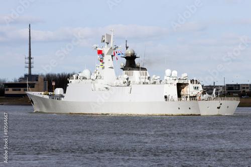 Stampa su Tela Chinese Navy frigate leaving Rotterdam