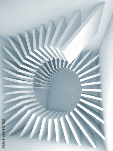 Abstract 3d blue empty room interior with helix decor #80619222