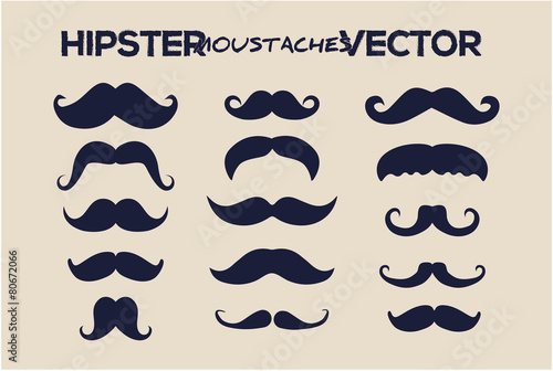 Stampa su Tela Fashion hipster moustaches vector style