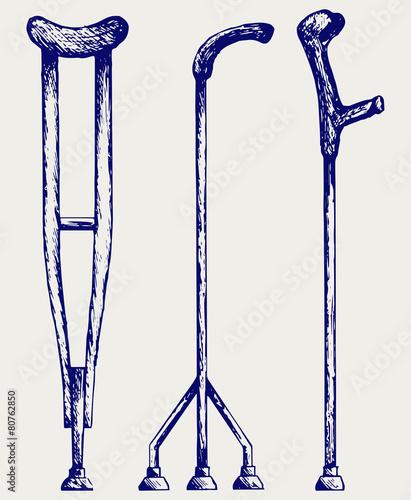 Foto Set crutches. Doodle style