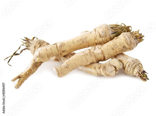 Fotografiet roots of horseradish as spicy vegetable
