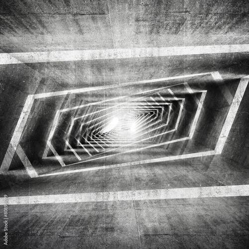 Abstract dark grungy concrete surreal tunnel interior #80898099