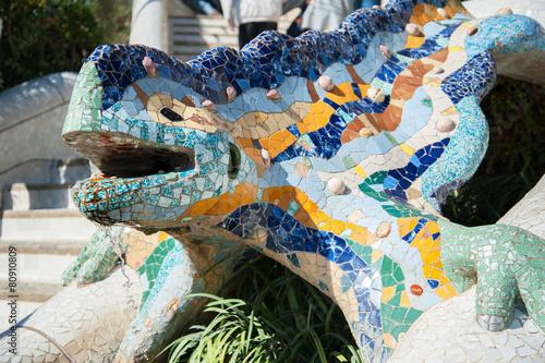 Dragon salamandra of gaudi mosaic Fototapet