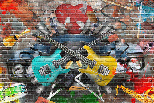 Collage of music, color and bright musical background #80915625