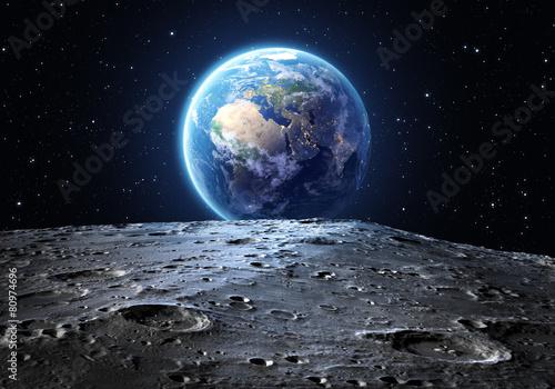 Fotografía blue earth seen from the moon surface