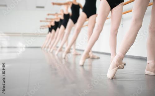 Canvas-taulu young dancers ballerinas in class classical dance, ballet