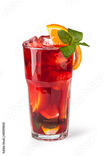 Glasses of fruit drinks with ice cubes Fototapeta