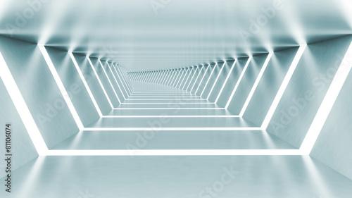 Abstract 3d empty illuminated light blue shining bent corridor #81106074