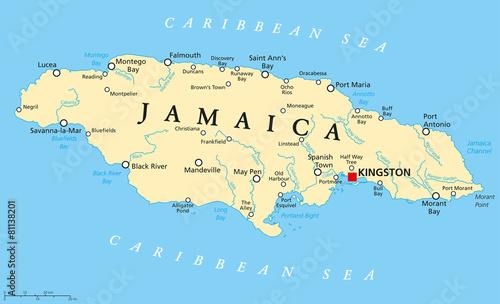 Canvas Print Jamaica Political Map
