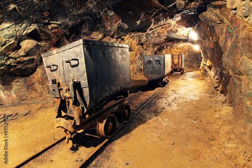 Fotografia Mining cart in silver, gold, copper mine