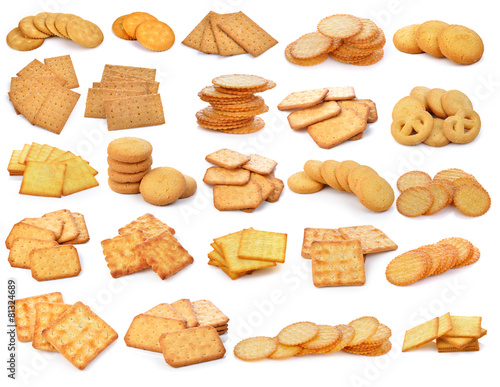 Fényképezés Cracker and  cookie isolated on  over white background