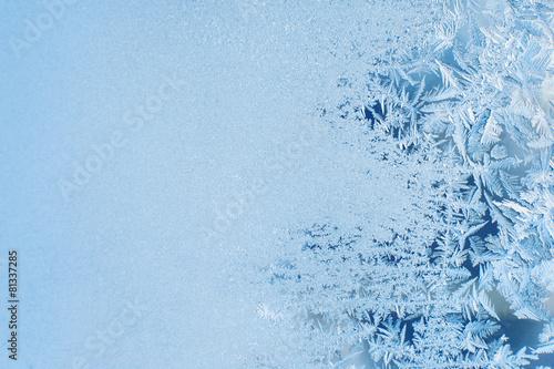 Winter background, frost on window Fototapeta