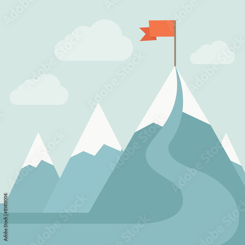 Mountain with red flag
