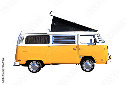 Canvas Print Campingbus freigestellt auf weiss