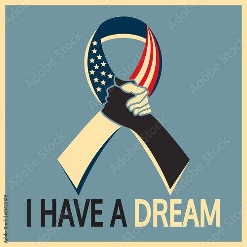 Canvas-taulu Martin Luther King day, I have a dream ribbon
