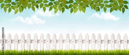 Fotografie, Obraz Long white fence banner with grass and fence. Vector.
