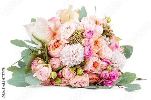 Fotografia, Obraz Beautiful bouquet of flowers isolated on white background