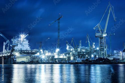 Obraz na plátně Loděnice v práci, opravy lodí, nákladní. Průmyslový