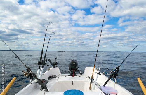 Fototapeta Salmon Baltic sea fishing from small boat