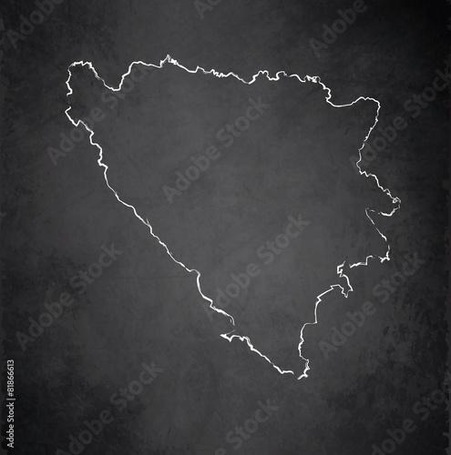 Photo Bosnia and Herzegovina map blackboard chalkboard vector