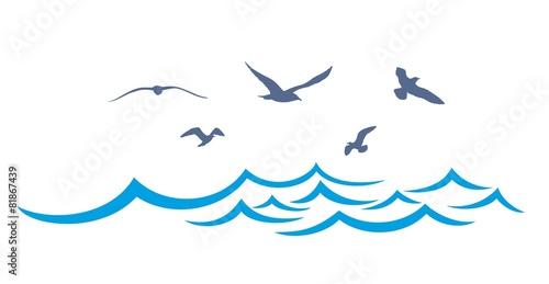 Obraz na płótnie Sea landscape with seagulls.
