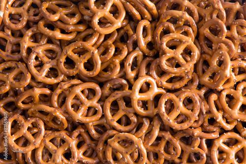 Obraz na plátně Background texture of mini pretzels
