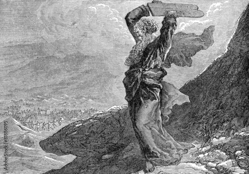 Moses breaking the two tablets of stone Fototapeta