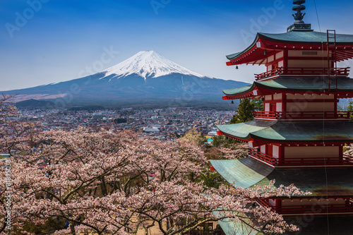 Red pagoda with Mt. Fuji as the background #81895038