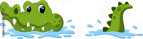 Obraz na płótnie Crocodile on the surface of the water