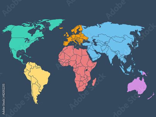 World map illustration, stock vector Fototapeta