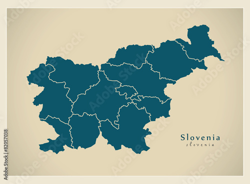 Wallpaper Mural Modern Map - Slovenia with regions SI