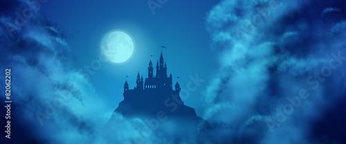 Fényképezés Fantasy Vector Castle Moonlight Sky