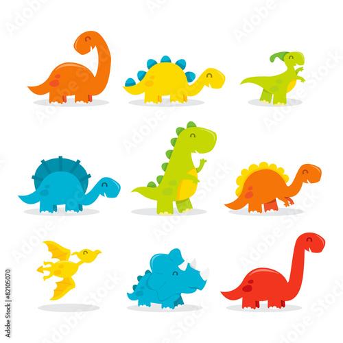 Cute Fun Cartoon Dinosaurs #82105070