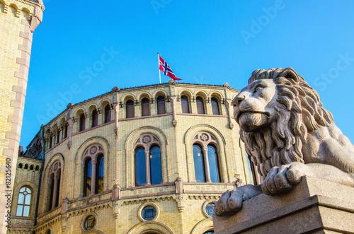 Exterior of the Norwegian Parliament (Stortinget) Oslo, Norway
