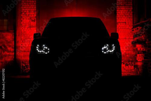 фотография Car Silhouette Headlight Night