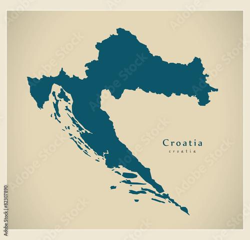 Canvas Print Modern Map - Croatia HR
