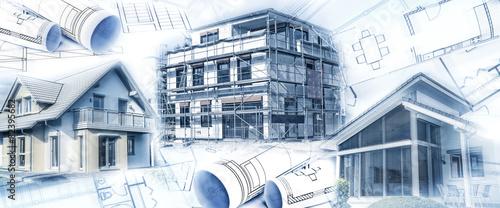 Tableau sur Toile Neubauten mit einem Rohbau und Bauplänen